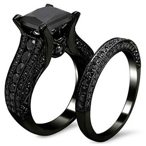AMiERY Black Gold Sapphire Princess Cut CZ Wedding Engagement Band Bridal Rings Jewelry Set 6