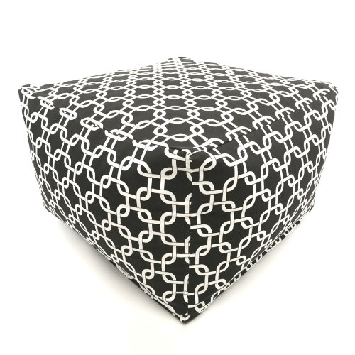 Majestic Home Goods Black Links Indoor/Outdoor Ottoman, Large from Majestic Home Goods