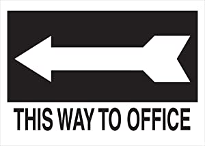"""Brady 41038 Aluminum Directional Sign, 10"""" X 14"""", Legend """"(with Picto) This Way To Office"""",Black on White"""