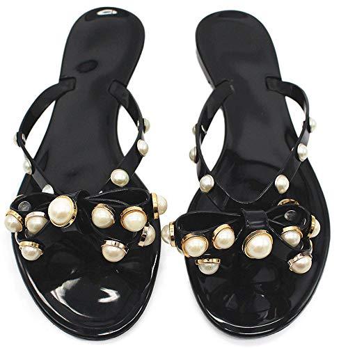 08adf45f07dd3 Womens Rivets Bowtie Flip Flops Jelly Thong Sandal Rubber Flat Summer Beach  Rain Shoes (US6.5, Black-p)