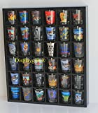36 Slots Shot Glass/ Miniature Collectibles Wall Curio Display Cabinet, No Door, MH37-BLACK