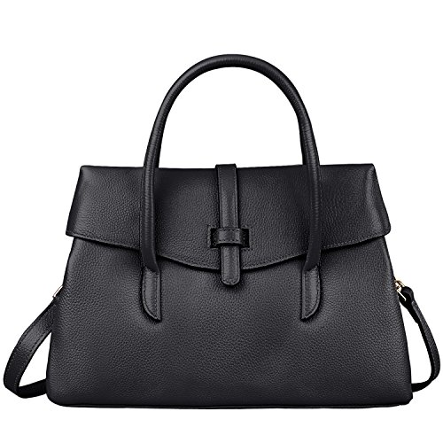 Jack&Chris Handbags Top Handle Bag Crossbody Bags for Women Leather Satchel, WBSF001 (Black)