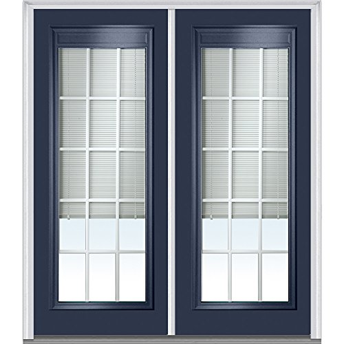 National Door Company Z010560L Steel Naval, Left Hand In-swing, Prehung Door, Full Lite, Clear Low-E Glass with RLB and GBG, 64'' x 80'' by National Door Company