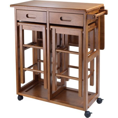 Wood Space Saver Table with 2 Stools, Teak /Model: 39330/Color: Brown