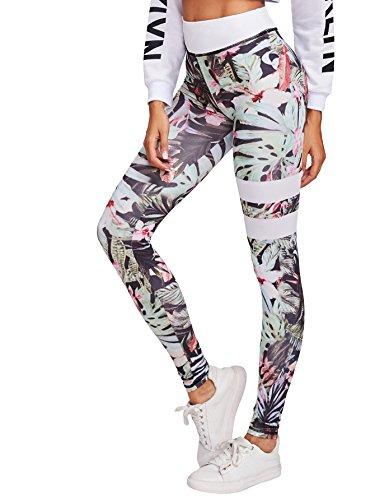 SweatyRocks Women's Stretchy Flower Print Wokout Leggings High Waist Yoga Pants Floral Striped - Print Leggings Floral