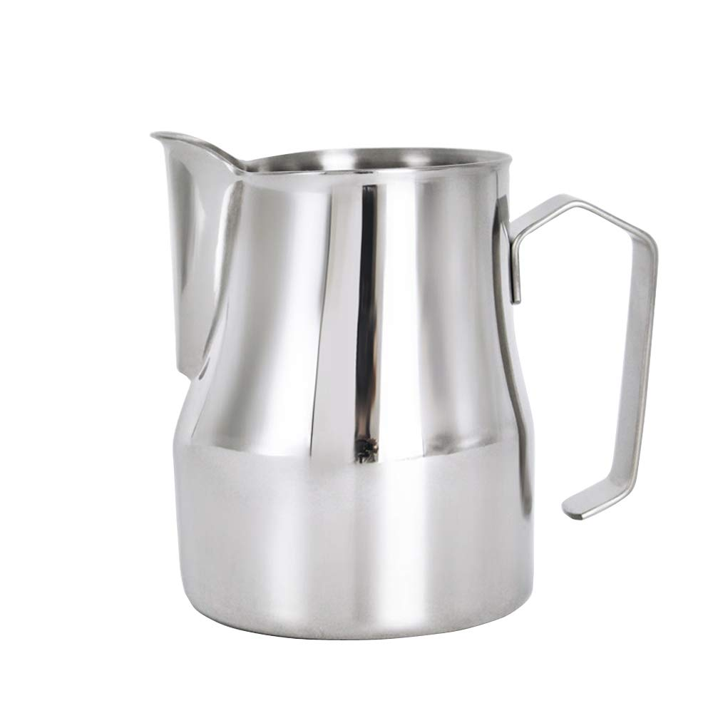 Frothing Pitcher Lengthen Mouth Handheld Milk Frothing Pitcher, 18/10 Stainless Steel 20oz/600ml Streamlined Milk Steaming Frothing Pitcher Body Suitable for Coffee, Latte Art And Frothing Milk Perfect for Espresso Machines by HENGRUI (Image #1)