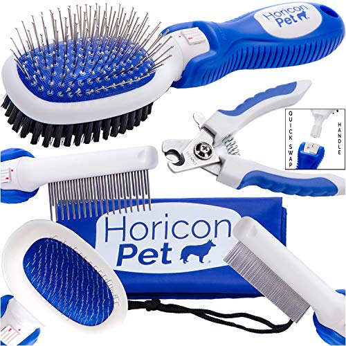 Horicon Pet Small Dog Brush Comb and Nail Set - 6 in 1 Dog Grooming Set - Ball Pin & Bristle Brush, Slicker Brush, Detangling Comb, Flea Comb, Nail Clippers - for Small Dogs