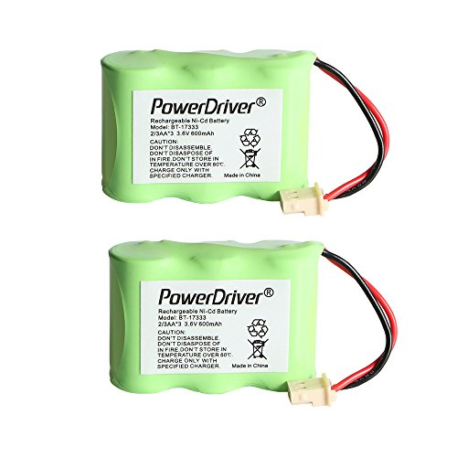 (PowerDriver 3.6v 600mAh Cordless Home Phone Battery for Vtech BT-17333 BT17333 BT-27333 BT27333 BT-17233 BT17233 BT-163345 BT-263345 BT163345 BT263345 CS2111 AT&T 01839 24112 4128 89-1332-00-00 89-1338-00-00 EL41108 EL41208 Southwestern Bell 31175 (Pack of 2))