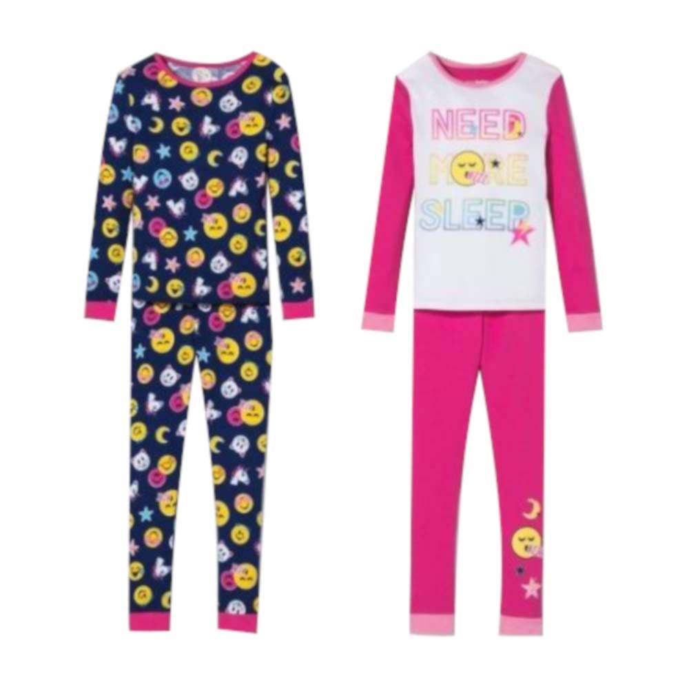 Pink Size 4 Girls EmojiNation 4pc Pajama Set