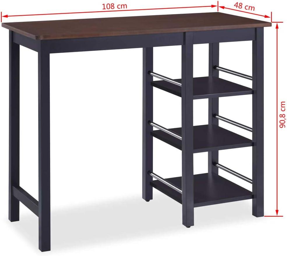 3 tlg.Bartisch Esstisch mit 2 Stühle Hocker Lagerregal MDF Bartresen Stehtisch