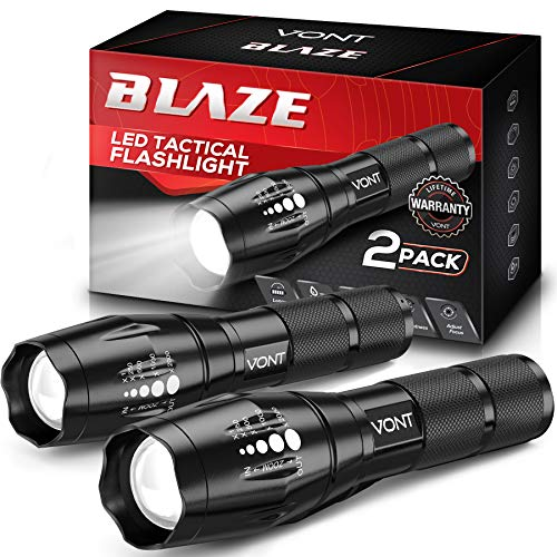 Vont LED Tactical Flashlight [2 Pack] 2X Longer Battery Life, 5 Modes, High Lumen, Adjustable, Zoomable,Waterproof…