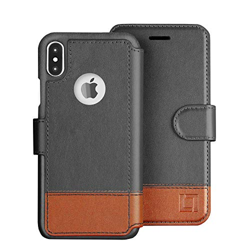 LUPA iPhone Xs Wallet case, iPhone X Wallet Case, Durable and Slim, Lightweight with Classic Design & Ultra-Strong Magnetic Closure, Faux Leather, Smoky Cedar, for Apple iPhone Xs/X