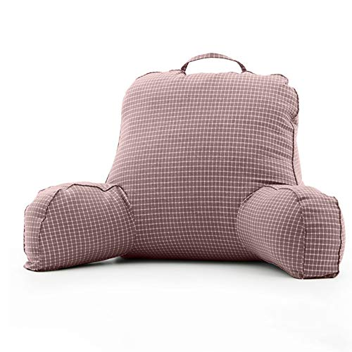 LIQICAI Bedrest Pillows with Arms for Reading in Bed Perfect Support Reading Relaxing Watching TV, 3 Colors Optional (Color : Brown, Size : 68x40x15cm)