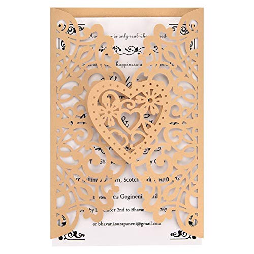 Gold Laser Cut Wedding Invitations Kits 50 Packs FOMTOR Laser Cut Wedding Invitations with Blank Printable Cards and Envelopes for Wedding,Birthday Parties,Baby Shower