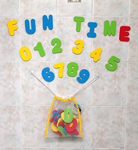 Click N' Play Bath Foam Letters & Numbers with Mesh Bath Toys Organizer, 36 Count ()