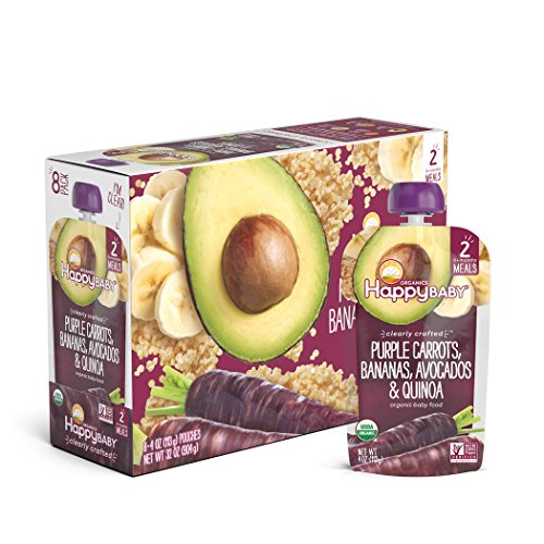 Meal Banana - Happy Baby Organic Clearly Crafted Stage 2 Baby Food Purple Carrots Bananas Avocados & Quinoa, 4 Ounce Pouch (Pack of 16) Resealable Baby Food Pouches, Fruit & Veggie Puree, Non-GMO Gluten Free Kosher
