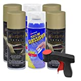 Plasti Dip Rim Kit: 4 Aerosol Cans Luxury Lime Gold Metallic, 2 Aerosol Cans Glossifier, 1 Cangun ...