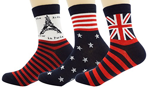 World National Flag (Bienvenu Mans 3 Pack World National Flag Print Soft Cotton Crew Socks)