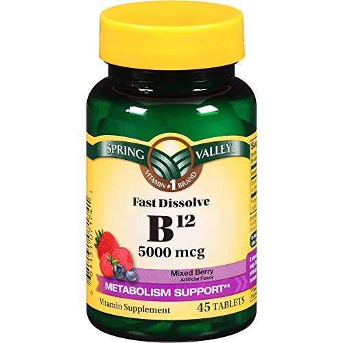Spring Valley B12 5000 mcg 45 tablets, Mixed Berry Flavor (Spring Valley B Vitamin)