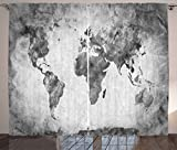 dark grey curtains 90 x 90 Ambesonne Modern Decor Curtains, Vintage World Map with Dark Nostalgic Tones Featured Display Background Artful Image, Living Room Bedroom Window Drapes 2 Panel Set, 108W X 90L Inches, Grey