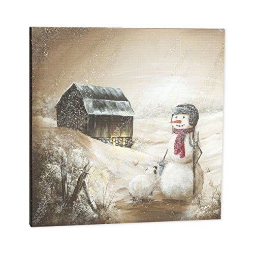 (Winter Snowman Barn Pasture LED Light Up 12 x 12 Inch Canvas Hanging Wall Plaque)