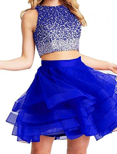 0503e0da0e8 Royal Blue Tulle Sleeveless Empire Waist Teen s Dance Ball Party Gown Above  Knee Formal Dresses