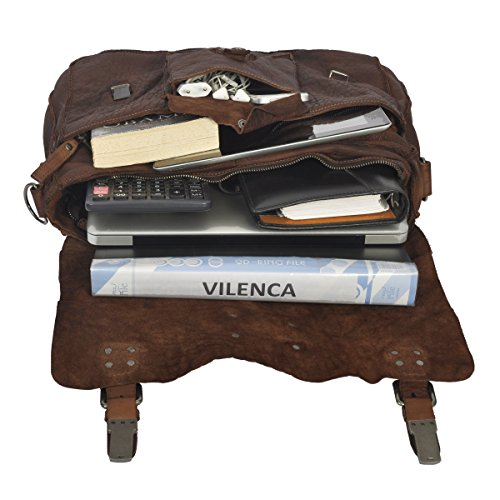 Vilenca Holland 40706marrón unisex maletín negocio bolsa–bolso bandolera de piel Para Ordenador Portátil Bolsa Oficina Bolsa Vintage Look Hombro Bolsa Hecha de piel de búfalo–�?1cm x 32cm x 11c