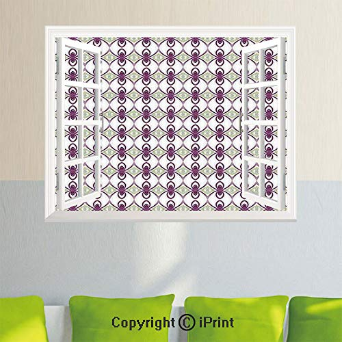 Removable Wall Sticker Creative Window View,Arabesque Eastern Mosaic from Medieval Times Art Kaleidoscopic Quirky Axis Art,35.4X 23.6inch,for Livingroom BedroomMauve Grey ()