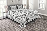 Ambesonne Video Games Bedspread Set Queen Size, Monochrome Sketch Style Gaming Design Racing Monitor Device Gadget Teen 90's, 3 Piece Decorative Quilted Coverlet with 2 Pillow Shams, Black White
