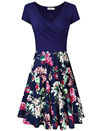 9a1dabd3d MISSKY Women's V-Neck A-line Floral Party Knee Length Dress