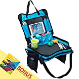 Kids Travel Tray for Snack & Play Activity with 12-Crayon Set by GC Box -Toddler Car Seat Lap Tray is Double-Layer with Waterproof Fabric and Deep Wide Cup/Bottle Holder. Review