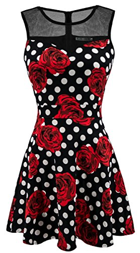 Black Flower Polka (Sylvestidoso Women's A-Line Pleated Sleeveless Little Cocktail Party Dress Black Mesh Red Flowers/Polka Dots (S, Black))