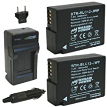 Wasabi Power Battery (2-Pack) and Charger for Panasonic DMW-BLC12, DMW-BLC12E, DMW-BLC12PP and Panasonic Lumix DMC-FZ200, DMC-FZ1000, DMC-G5, DMC-G6, DMC-GH2