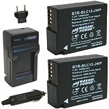 Wasabi Power Battery (2-Pack) and Charger for Panasonic DMW-BLC12, DMW-BLC12E, DMW-BLC12PP and Panasonic Lumix DMC-FZ200, DMC-FZ1000, DMC-G5, DMC-G6, DMC-GH2