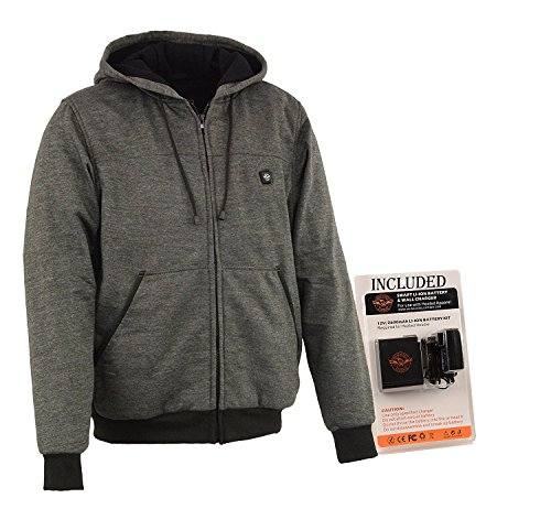 (Milwaukee Performance Mens Zipper Front Heated Hoodie w/ Rechargeble Battery Pack Included (Grey, Large))