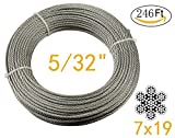 Muzata Stainless Aircraft Steel Wire Rope Cable For Railing ,Decking, DIY Balustrade, 5/32Inch,7x19,246Feet