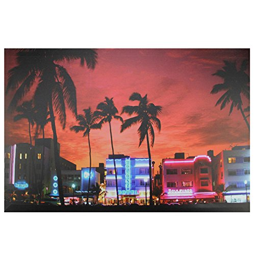 Northlight  LED Lighted Famous South Beach Miami Florida Nightlife Scene Canvas Wall Art, 15.75