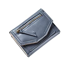 HeySun Girl's Casual PU Leather Trifold Zipper Wallet Purse with Kiss-lock Small Change Pocket