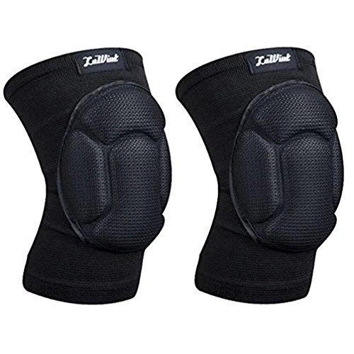 Luwint Youth Volleyball Basketball Knee Pads - High Elastic Non-Slip Sponge Knee Sleeves Brace Support for Gardening Weightlifting Running Gym Yoga, 1 Pair (Black) -