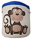 Toy storage basket – Lined fabric basket for organising kids toys – Blue monkey design on fabric – Large toy basket for boys and girls - Suitable for a nursery, or any room in the house