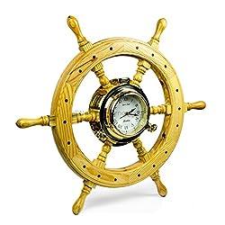 Premium Nautical Luxurious Elegant Pine Maritime Crafted Brass Porthole Clock Ship Wheel With Large Roman Dial Face | Sailor's Nursery Birthday Gift | Nagina International (24 Inches)