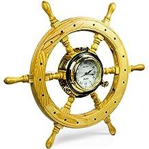 Premium Nautical Luxurious Elegant Pine Maritime Crafted Brass Porthole Clock Ship Wheel With Large Roman Dial Face   Sailor's Nursery Birthday Gift   Nagina International (24 Inches)