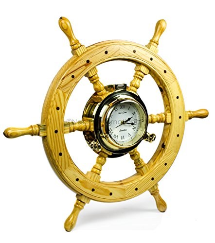 Premium Nautical Luxurious Elegant Pine Maritime Crafted Brass Porthole Clock Ship Wheel With Large Roman Dial Face | Sailor's Nursery Birthday Gift | Nagina International (24 Inches) - Brass Porthole Ship