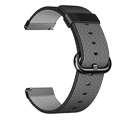 For Galaxy Watch 46mm & Gear S3 Watch Band, Fintie 22mm Soft Woven Nylon Lightweight Adjustable Replacement Strap Wrist Bands for Samsung Galaxy Watch 46mm / Gear S3 Classic/Frontier Smartwatch, Black