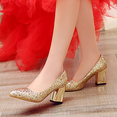 Sequin Gold Heels UK3 US5 Party Heel amp;Amp; EU36 Summer Red 5 Chunky Casual Silver Fall CN35 Block Zormey Spring 5 Wedding Heel Evening Women'S Glitter aqwf55xBZ