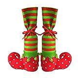 niceEshop(TM) Christmas Wine Bottle Bags/Reusable Gift Bags/Table Leg Covers Elf Elves Feet Shoes Legs Party Decorations,1pair