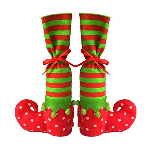 Christmas Wine Bottle Bags/Reusable Gift Bags/Table Leg Covers Elf Elves Feet Shoes Legs Party Decorations,1pair,niceEshop(TM) (Xmas Wine Gifts)