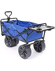Mac Sports Heavy Duty Collapsible Folding All Terrain Utility Wagon Beach Cart (Black with Table)