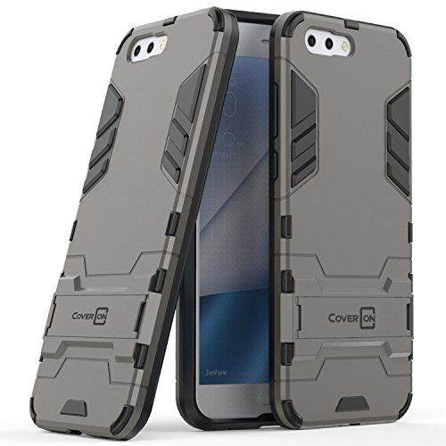 Asus Zenfone 4 Case, CoverON Shadow Armor Series Modern Style Slim Hard Hybrid Phone Cover with Kickstand Case for Asus Zenfone 4 - Silver