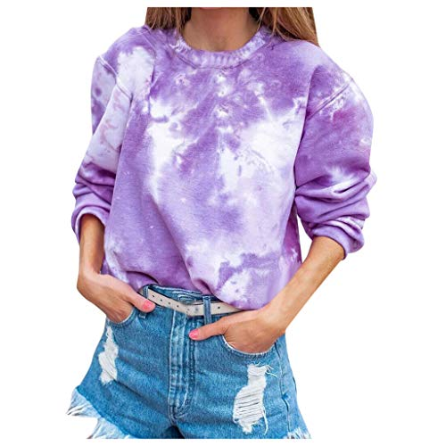 Winter Women's Fashion Gradual Casual Long Sleeve Round Neck Shirt Blouses Pullover Sweatshirt Colorful Rainbow Print